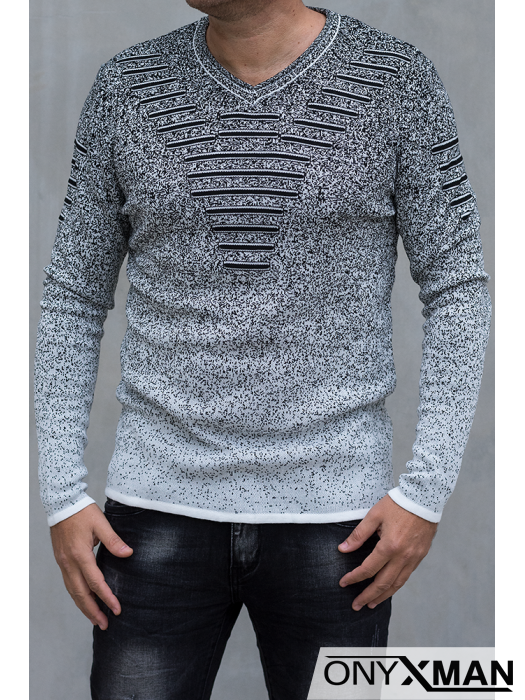 Плетена мъжка блуза с V-образно деколте