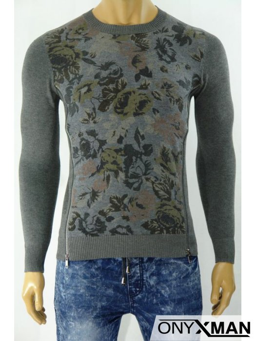 Плетена мъжка блуза с ципове