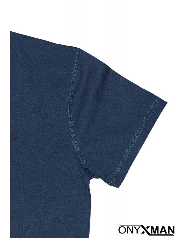 Тениска в син индиго цвят