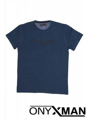 Тениска СЛИМ в син индиго цвят Големи Размери