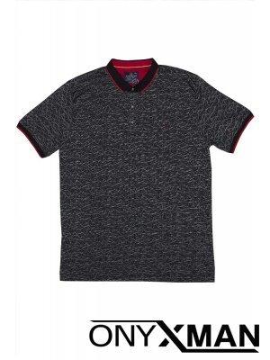 Тениска с яка в черно с ромбове Големи Размери