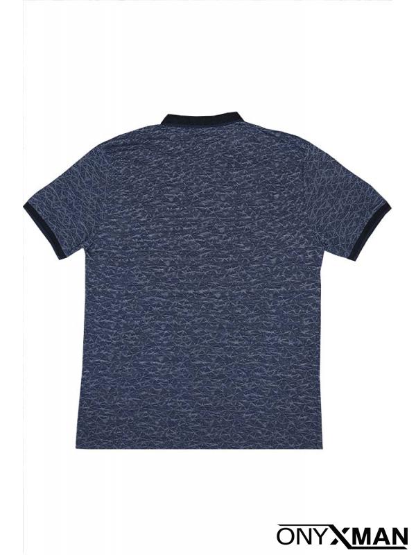 Тениска с яка в синьо с якичка и ромбове