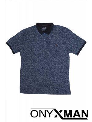 Тениска с яка в синьо с ромбове Големи Размери