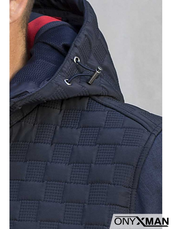 Мъжко яке в син цвят с качулка 310151