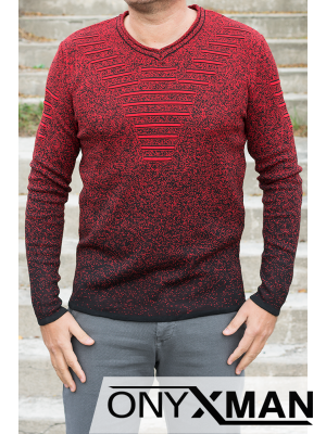 Мъжки пуловер с V-образно деколте
