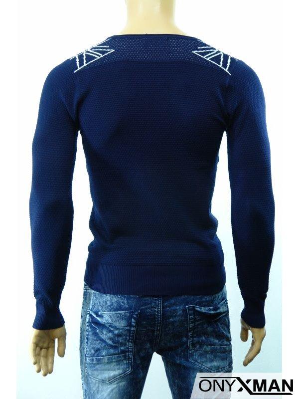 Плетена мъжка блуза с джоб