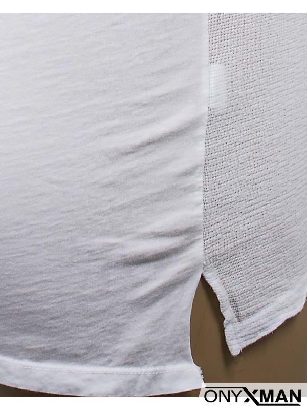 Тениска с три копченца в бяло