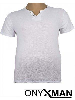 Тениска с три копченца в бяло Големи Размери