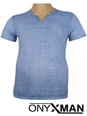 Тениска с три копченца в синьо Големи Размери