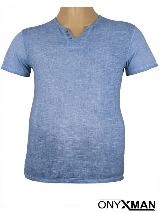 Тениска с три копченца в синьо