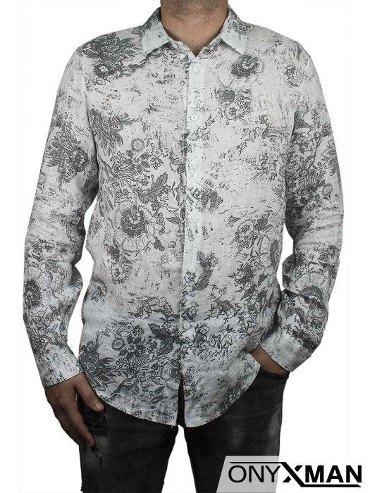 Вталена лятна риза с дълги ръкави