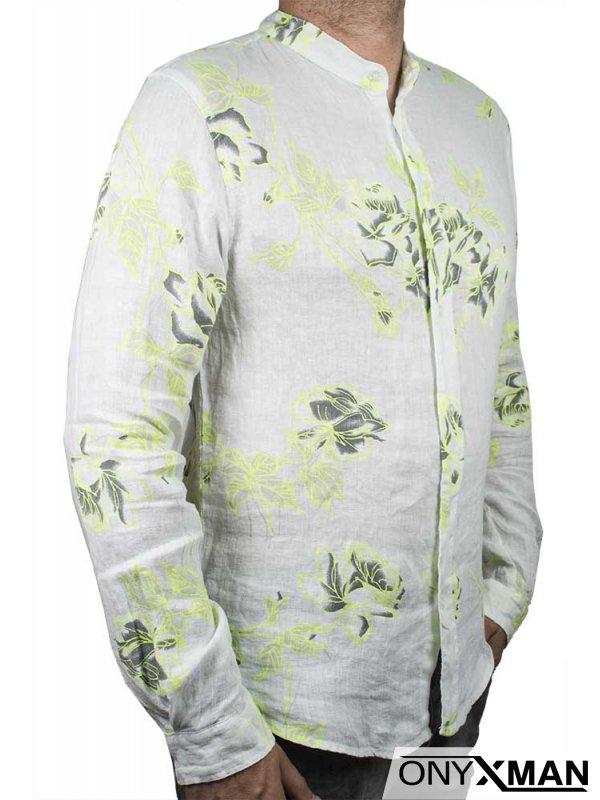 Вталена лятна ленена риза с попска яка