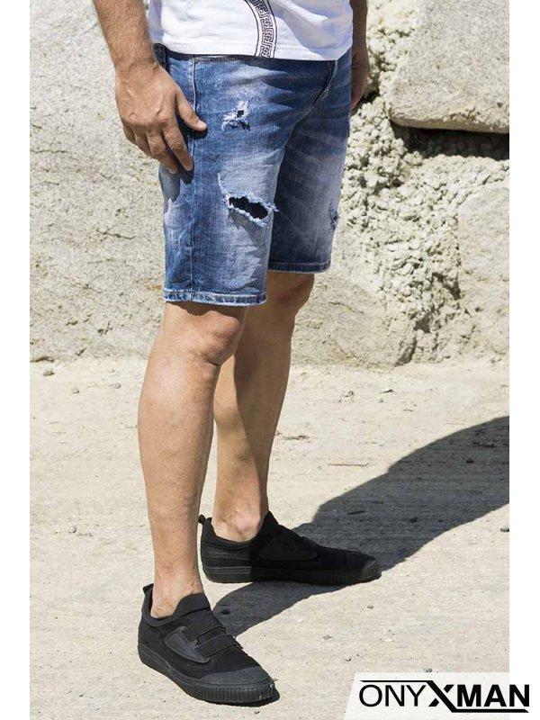 Актуални къси сини дънки с кръпки