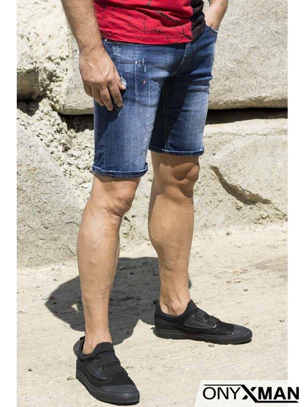 Мъжки къси дънкови панталони с пръски боя