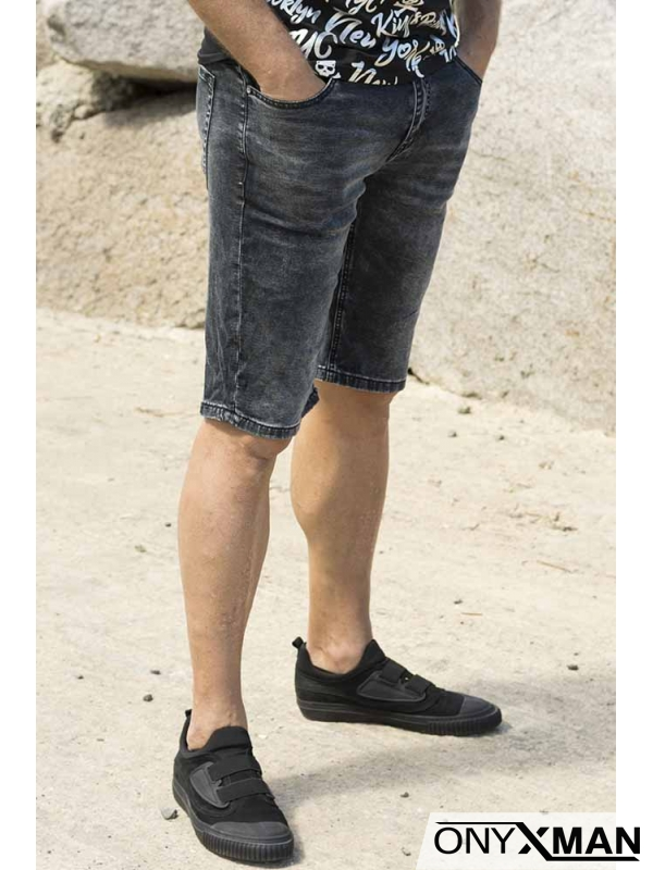 Сиво - черно късо дънки