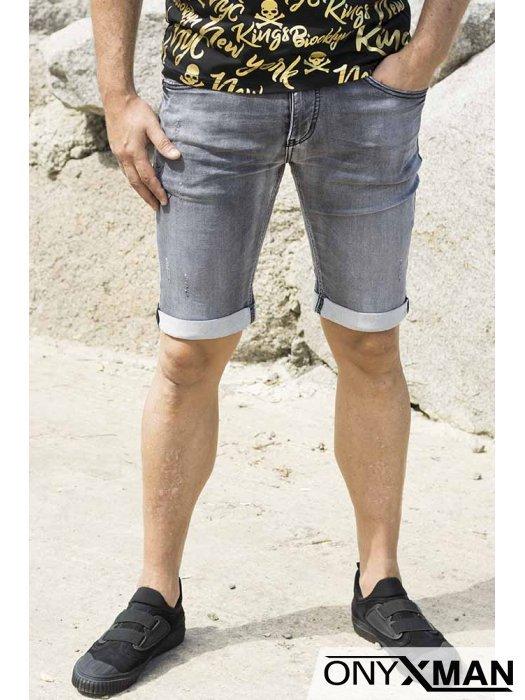 Сиви къси дънки с обърнат подгъв