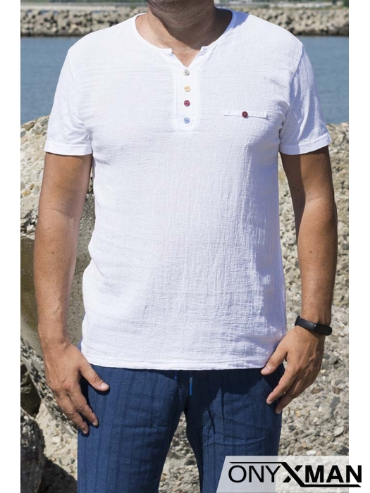 Ленена тениска с три декоративни копченца 152591