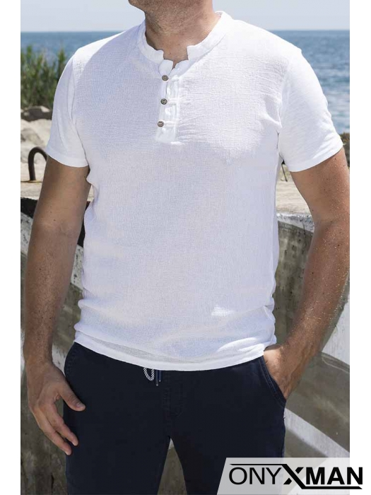 Ленена тениска с мини столче яка