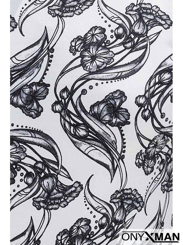 Бяла тениска с цветя 151001