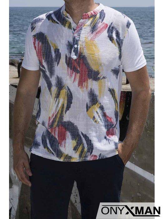 Цветна ленена тениска