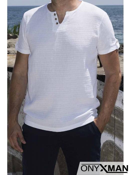 Тениска с лен с декоративни копченца 152551
