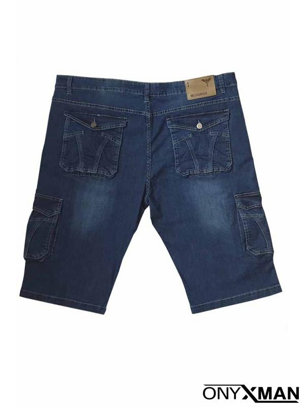 Сини къси дънки с карго джобове