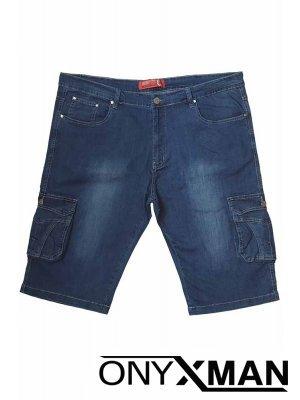 Сини къси дънки с карго джобове МАКСИ размери