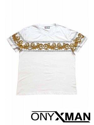 Тениска с красиви орнаменти в бяло