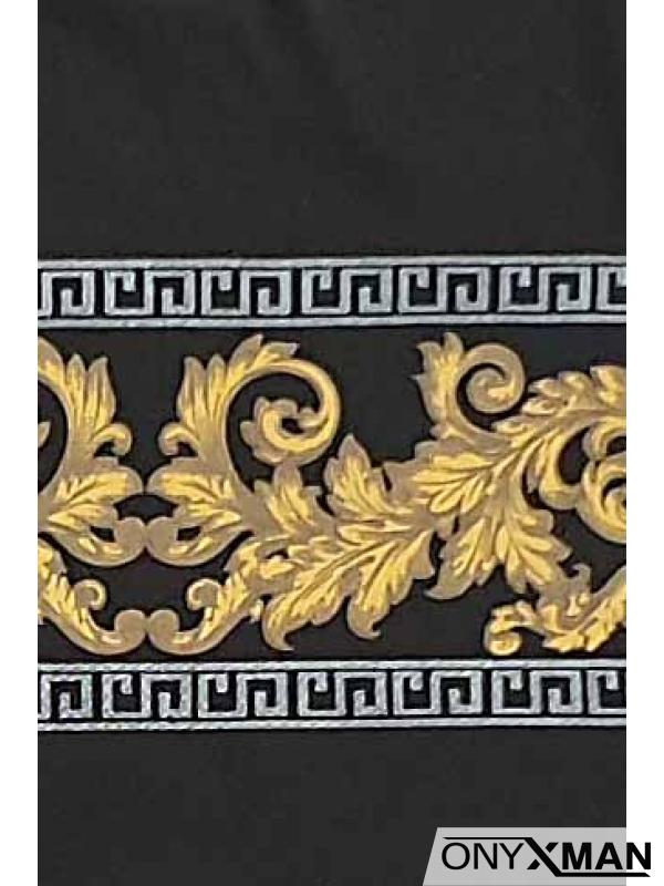 Тениска с красиви орнаменти в черно