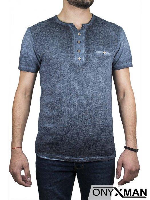 Ленена тениска с имитация джоб