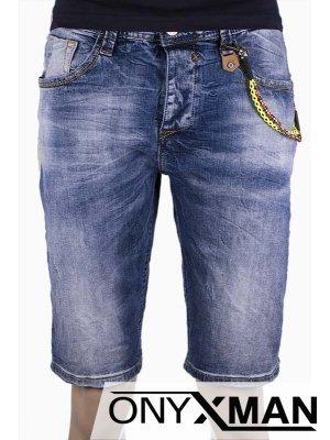 Мъжки къси дънки с декоративна верижка