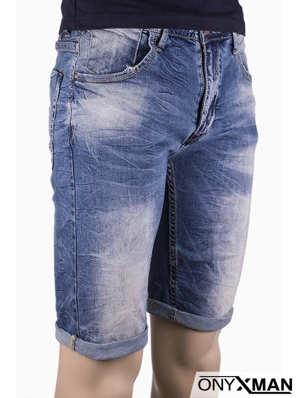 Мъжки къси дънки от син деним