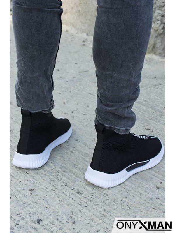 Спортни мъжки обувки с висок плетен чорап