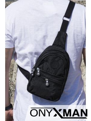 Мъжка гръдна черна чанта от полиестер
