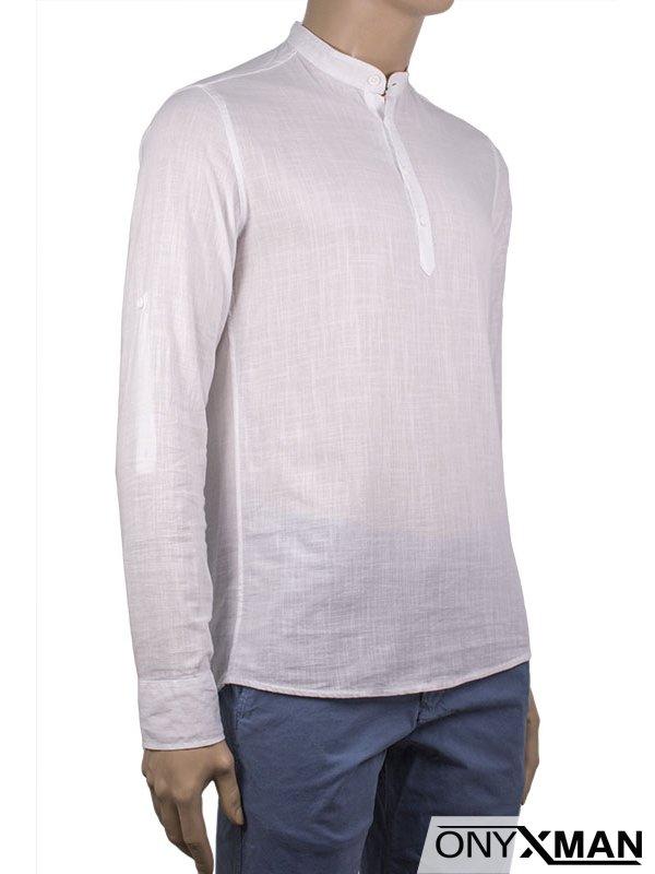 Мъжка памучна риза с къс или дълъг ръкав