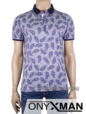 Мъжка тениска с яка на листенца