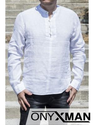 Свободна мъжка ленена риза в бяло