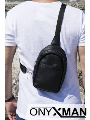 Мъжка черна чанта от изкуствена кожа