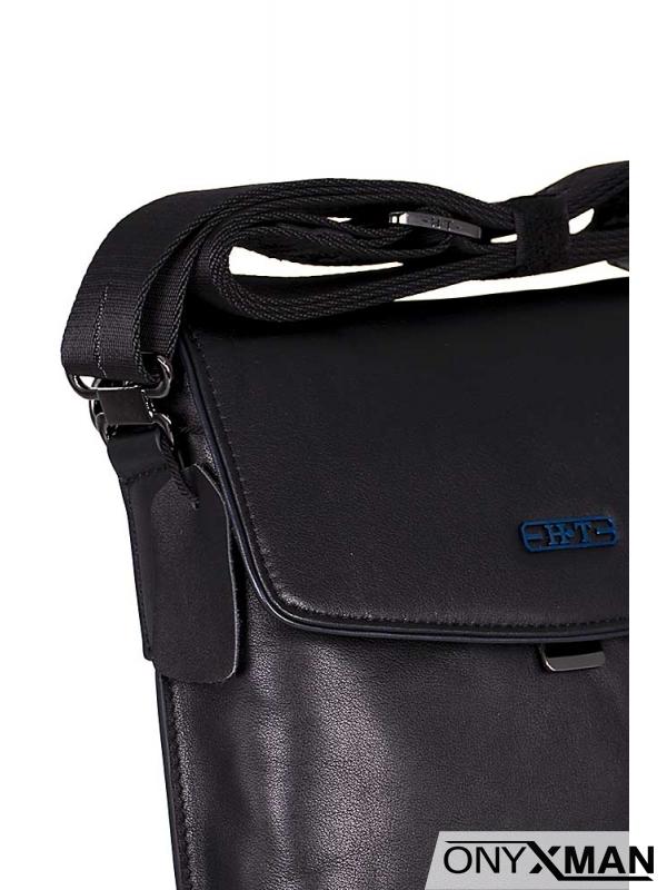 Стилна мъжка чанта с метална закопчалка