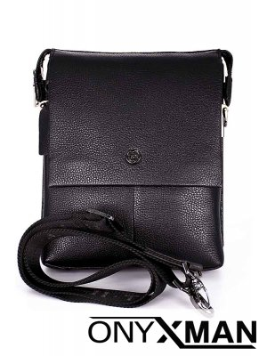 Мъжка чанта от естествена кожа с капак