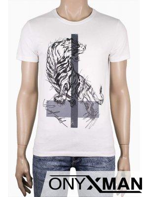 Мъжка тениска с принт Тигър