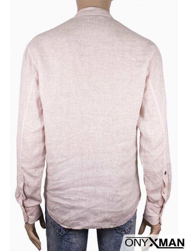 Мъжка свободна ленена риза в бежово