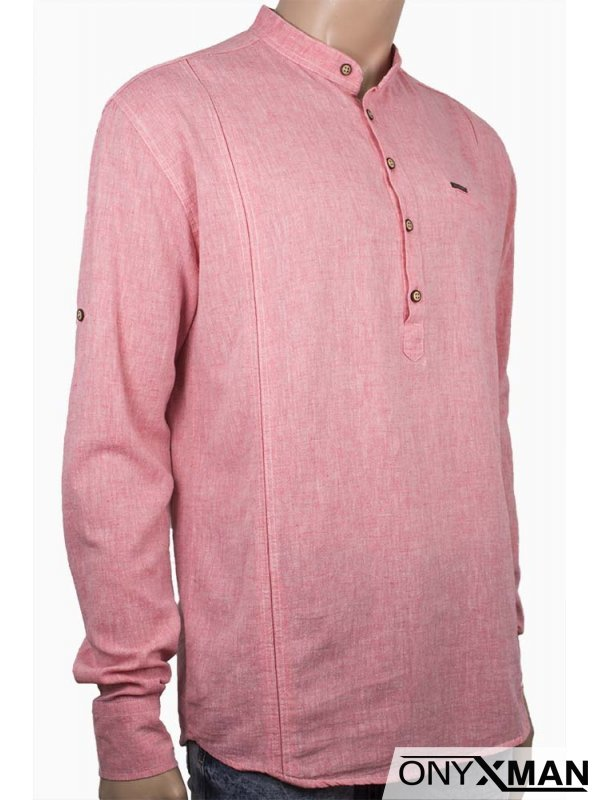 Мъжка свободна риза със закопчаване до половината