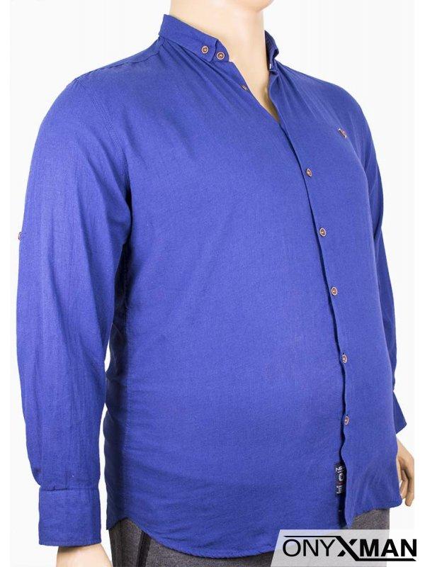 Мъжка риза с кафеви копчета (от XL до 4XL)