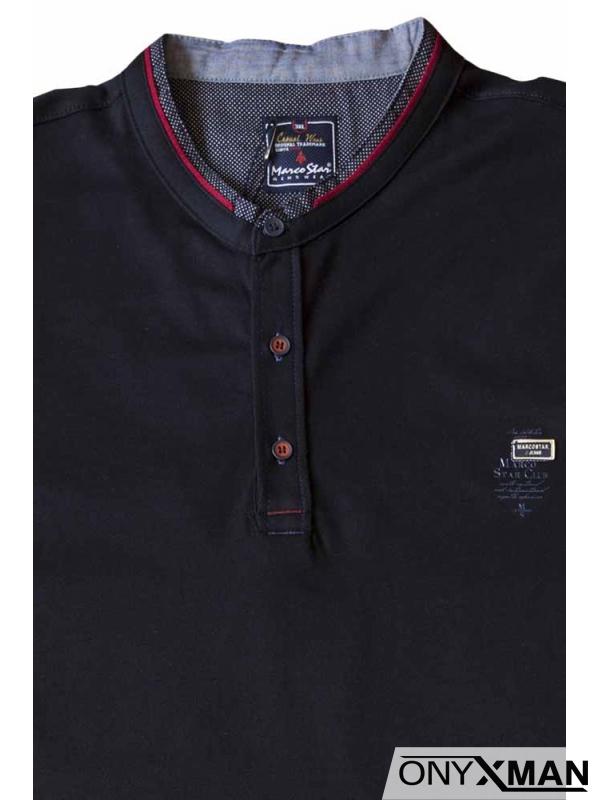 Тениска с три копченца в тъмно син цвят