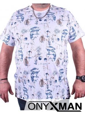 Мъжка тениска с цветен принт Големи размери