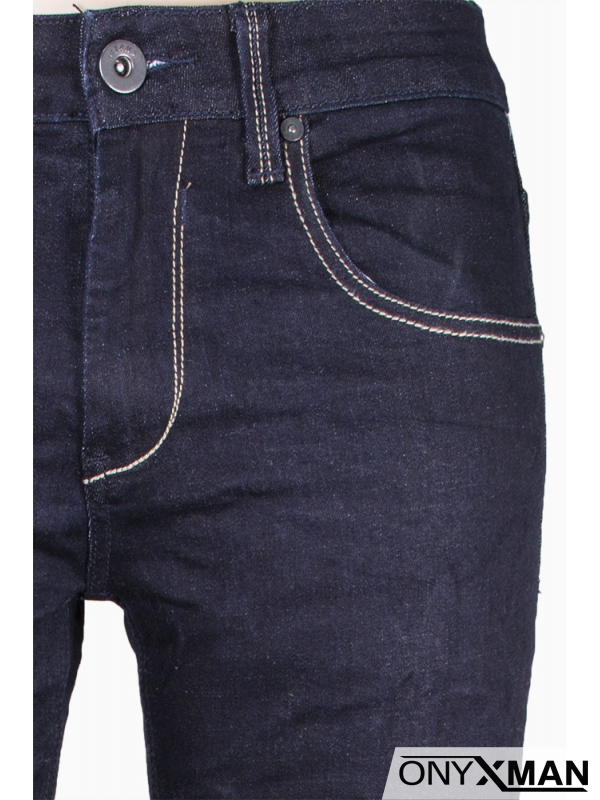 Изчистени мъжки тъмно сини дънки