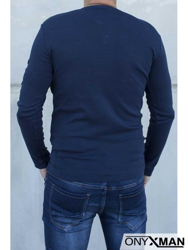 Мъжка трикотажна блуза с копченца