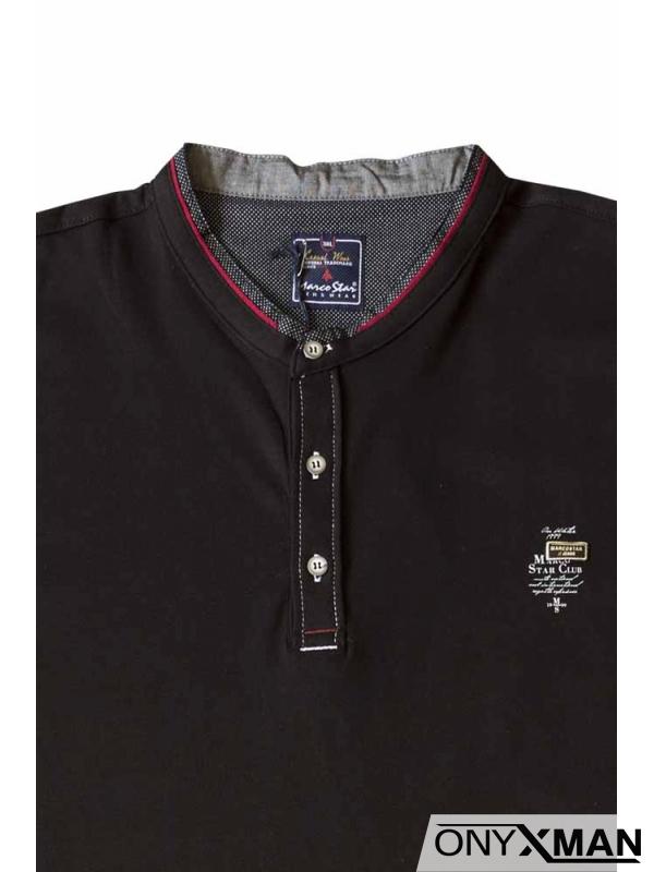 Тениска с три копченца в черен цвят