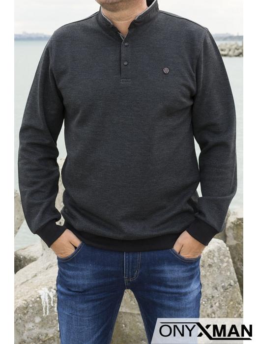 Мъжка блуза с яка и копченца